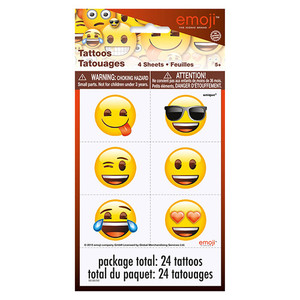 Emoji Tattoo Sheets/Favors - 4 Count