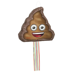 Poop Emoji Shaped Drum Pull Pinata