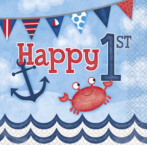 Nautical 1st Birthday Beverage Napkins 16 Count