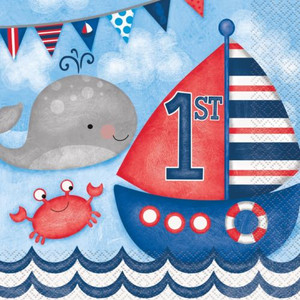 Nautical 1st Birthday Lunch Napkins 16 Count