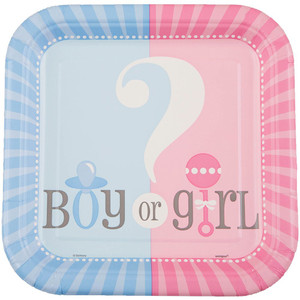 "Gender Reveal 7"" Square Plates 10 Count"
