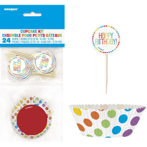 Rainbow Bday Cupcake Kit 24 Count
