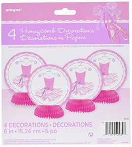 6-Inch Pink Ballerina Mini Honeycomb 4 Count