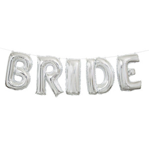 "14-Inch Silver ""Bride"" Letter Balloon Banner Kit"
