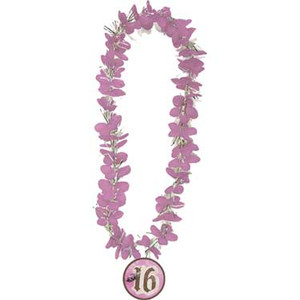Sweet 16 Flower Lei with Medallion