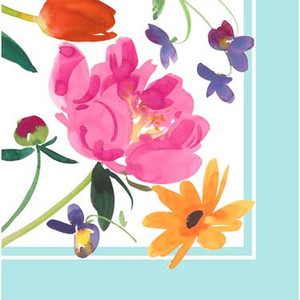 16 Breezy Blooms Beverage Napkins