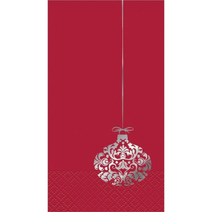 Elegant Red Xmas Guest Napkins 16 Count