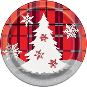 "Rustic Plaid Xmas 7"" Plates 8 Count"