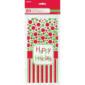 5X11 Happy Holidays Cello Bags 20 Count
