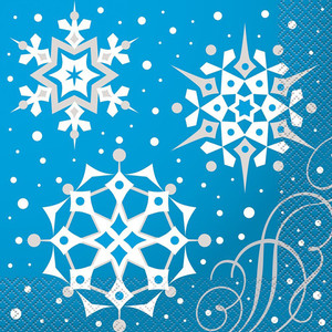 Silver Snowflake Xmas Lunch Napkins 16 Count