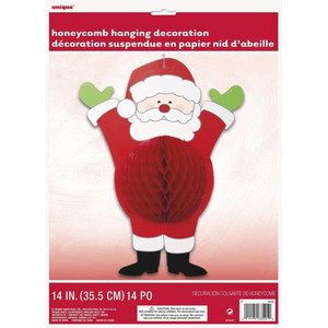 14-Inch Hohoho Santa Honeycomb Hanging Decoration