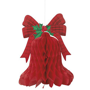 15-Inch Redbell Xmas Honeycomb Hanging Decoration