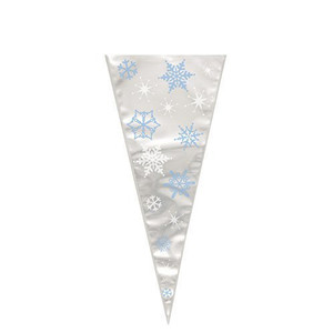 Snowflakes Large Cone Cello Bags 20 Count