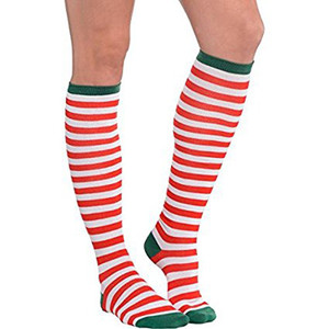 Candy Cane Striped Knee Socks