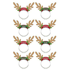Santas Reindeer Headbands 8 Pack