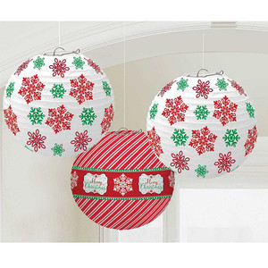 Christmas Printed Lanterns (3 Pack)