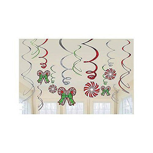 Candy Cane Hanging Swirl Decorations (12 Pack)