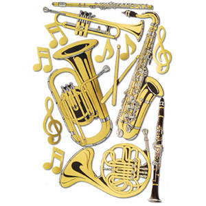 Gold Foil Musical Instruments Cutouts
