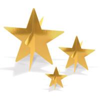 3-D Gold Foil Star Centerpieces