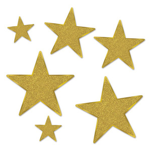 Glittered Gold Foil Star Cutouts