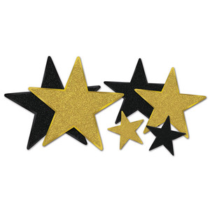Glittered Black & Gold Foil Star Cutouts