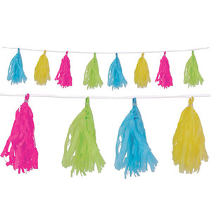 Cerise, Lime Green, Turquoise and Yellow Tissue Tassel Garland