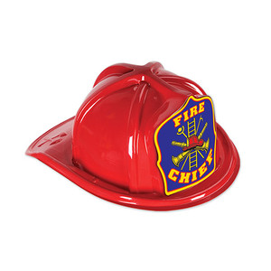 Red Plastic Fire Chief Hat with Blue Shield