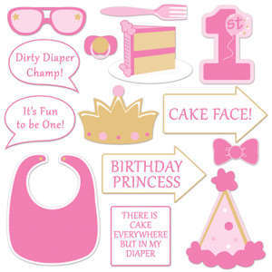 1st Birthday Photo Fun Signs in Pink