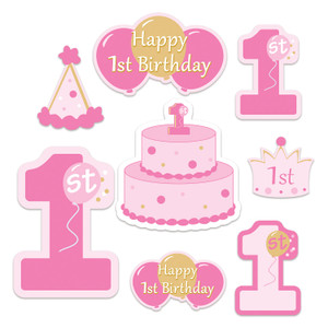1st Birthday Cutouts in Pink