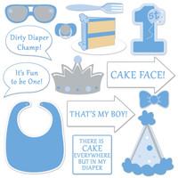 1st Birthday Photo Fun Signs in Blue