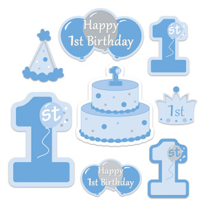 1st Birthday Cutouts in Blue