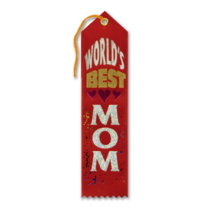 World's Best Mom Award Red Ribbon