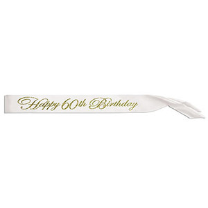 Glittered Happy 60Th Birthday Satin Sash