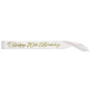 Glittered Happy 70Th Birthday Satin Sash