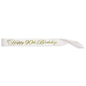 Glittered Happy 90Th Birthday Satin Sash