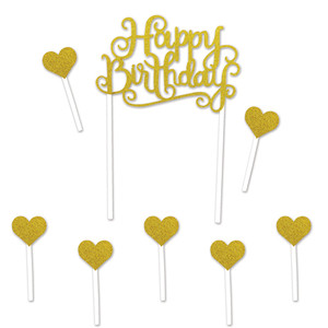 Happy Birthday Gold Cake Topper with Heart Picks