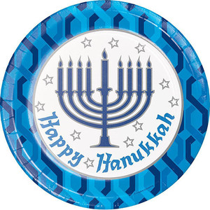 Menorah Paper Dinner Plates 8CT