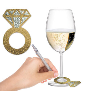 Diamond Ring Wine Glass Markers