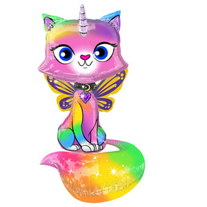 "44"" Rainbow Butterfly Unicorn Kitty Foil Balloon"