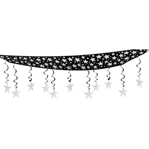 The Stars Are Out Ceiling Decor - Black & Silver