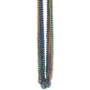 Assorted Gold, Green & Purple Bulk Party Beads - Small Round