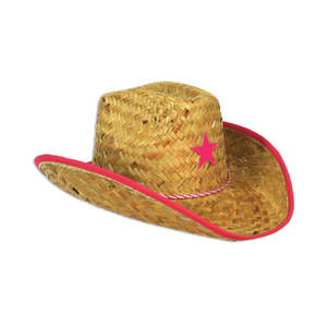 Child Cowboy Hat with Pink Star & Chin Strap