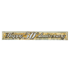 Gold Metallic 50th Anniversary Fringe Banner