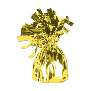 Yellow Cellophane Metallic Wrapped Balloon Weight