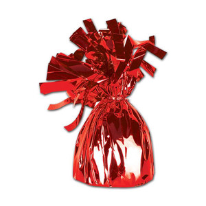 Red Metallic Wrapped Balloon Weight