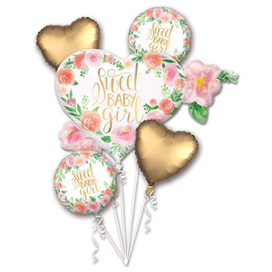 Floral Baby Girl Balloons Bouquet