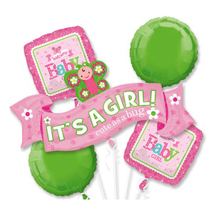 Welcome Little One Girl Balloons Bouquet