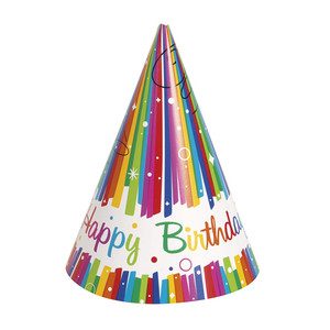 8 CT Rainbow Ribbon Birthday Party Hats