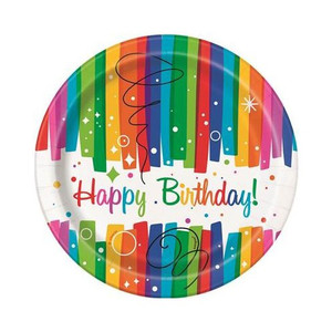 "8 CT 7"" Rainbow Ribbon Birthday Plates"