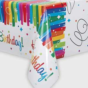 "54"" x 84"" Rainbow Ribbon Birthday Tablecover"
